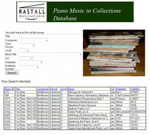 View of Piano Music in Collections Database